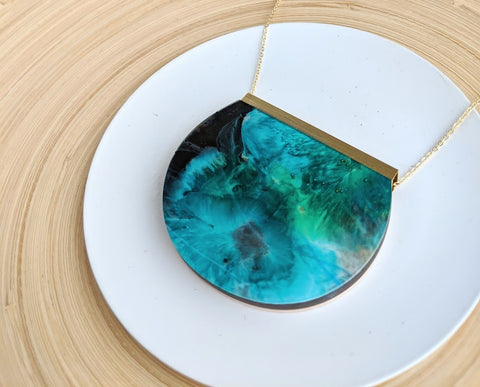 """The Depths Of The Ocean"" Hand Painted Wood And Resin Necklace"