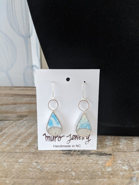 Beach Teardrop Dangle Sterling Silver Earrings