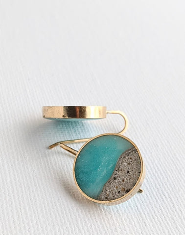 Mini Circle Brass Beach Scene Earrings