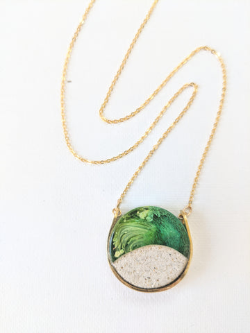 Brass Circle Green Resin Island Necklace