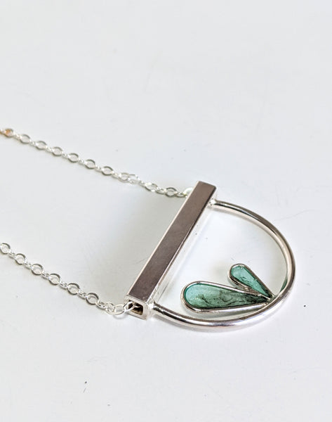 Nature Minimalist Silver Leaves and Resin Necklace