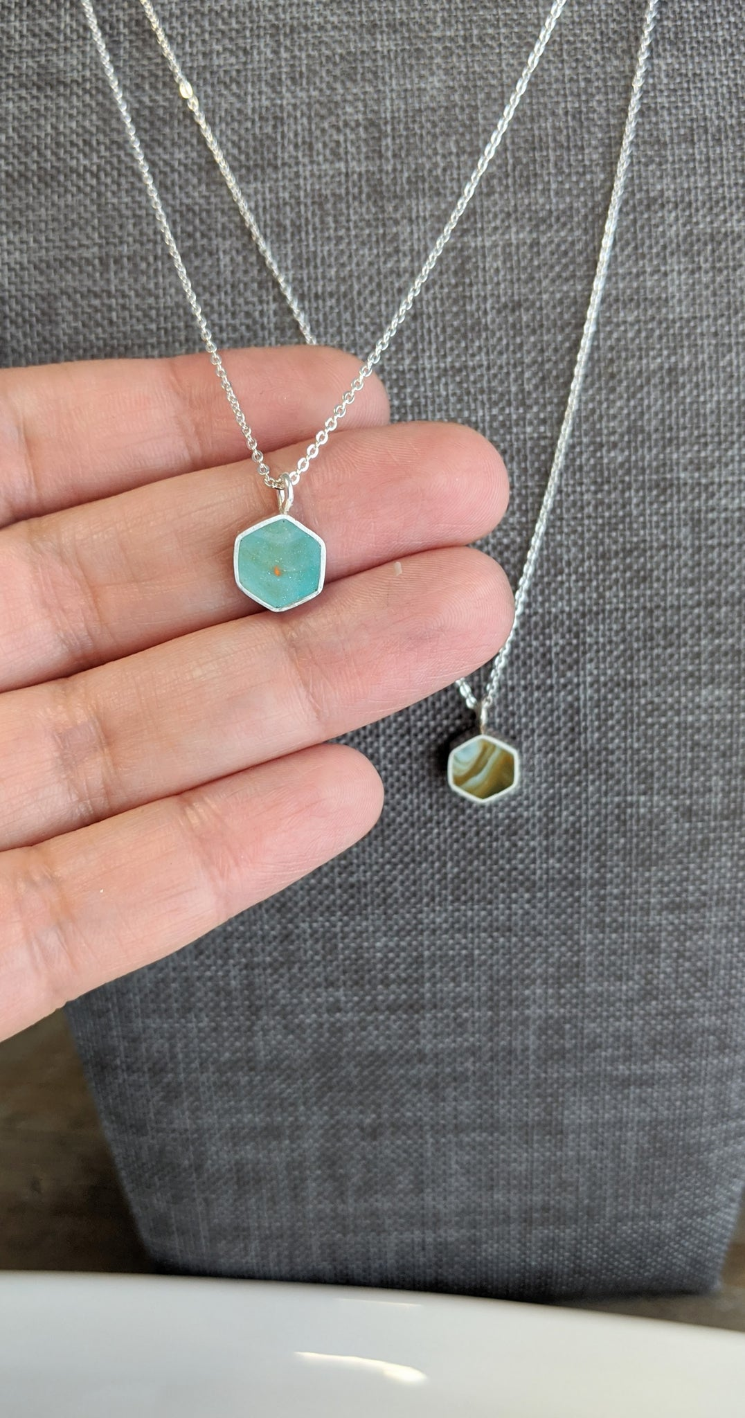 Mini Hexagon Resin and Sterling Silver Necklaces
