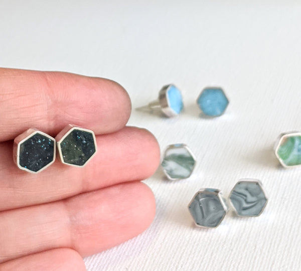 Mini Hexagon Resin and Sterling Silver Studs