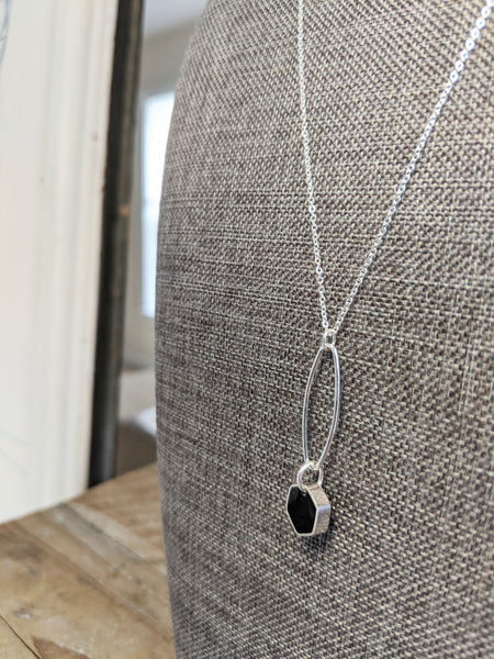 The Cutest Sterling Silver Hexagon And Oval Link Necklaces