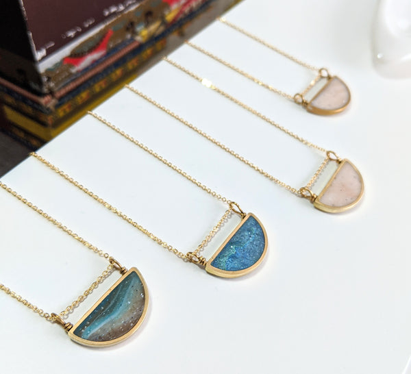 Half Moon Brass and Resin Necklaces