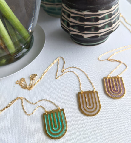 Art Deco Resin and Brass Half-Oval Necklaces