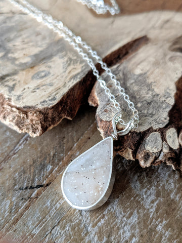 Quartz Eco-resin and Sterling Silver Teardrop Necklace