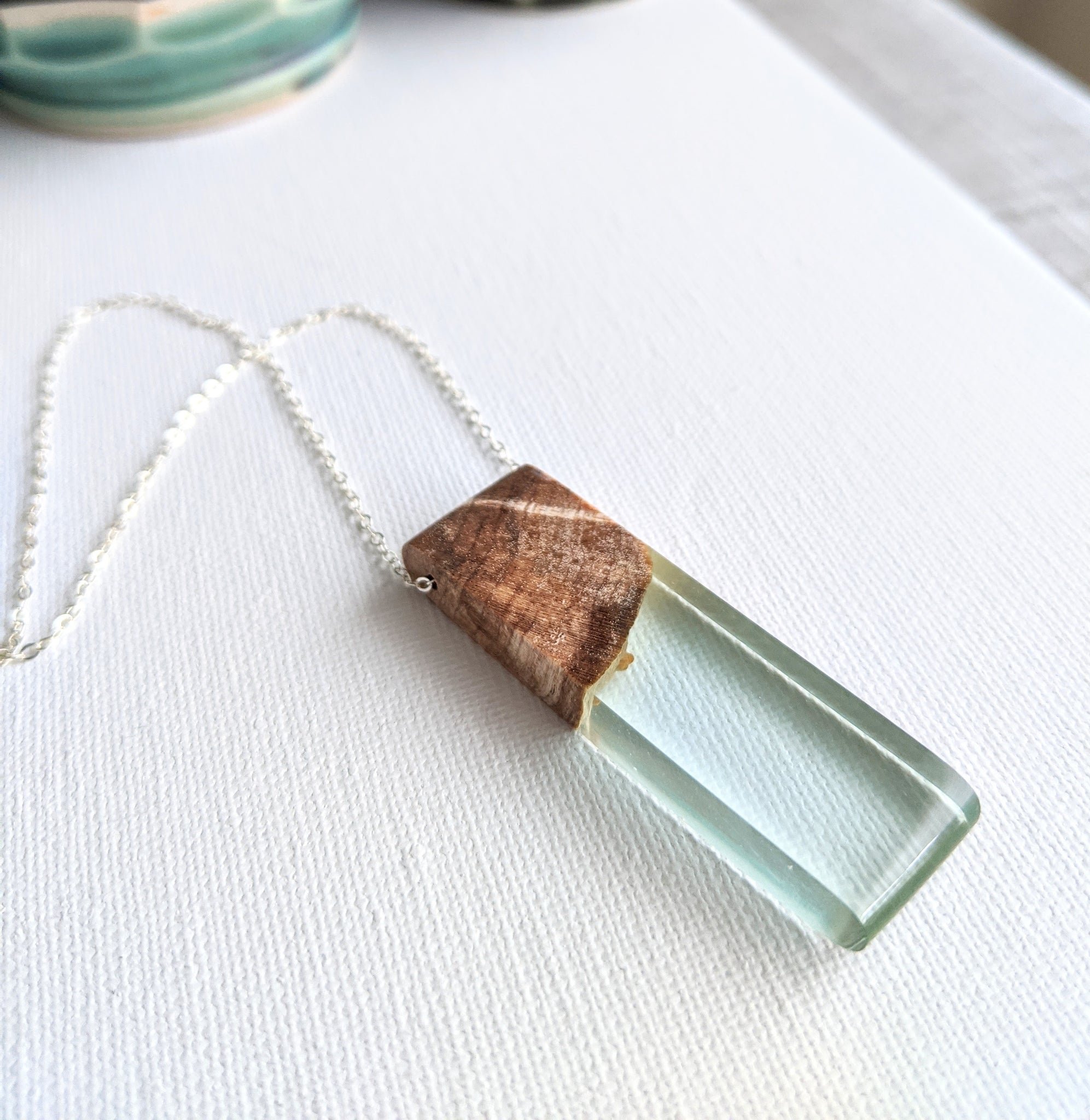 Artic Blue Rounded Edges Rectangle Resin and Wood Necklace