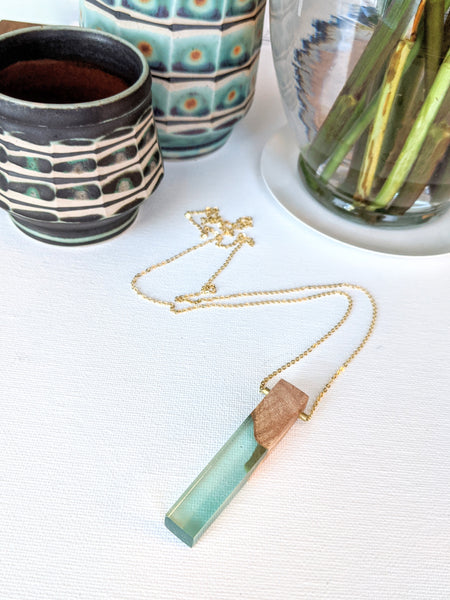 Translucent Blue Resin and Reclaimed Wood Necklace