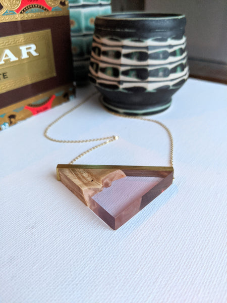 Amethyst Resin and Reclaimed Wood Triangle Necklace