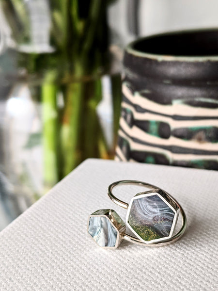 Sterling Silver Hexagons Ring - Slated Sage