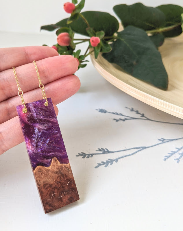 Swirling Nebula Wood and Resin Necklace