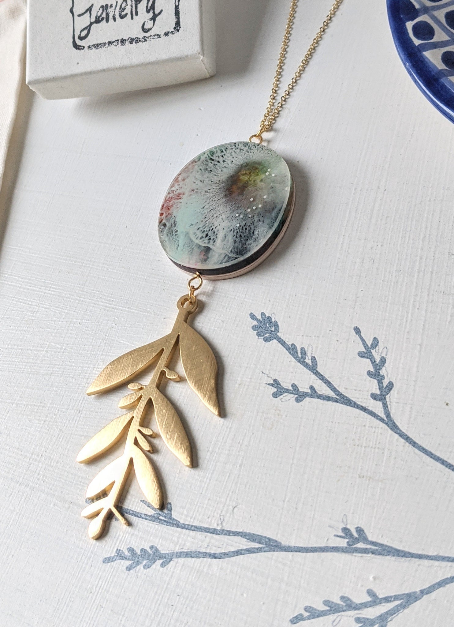 Hand Painted Circle Wood and Resin Leaf Pendant