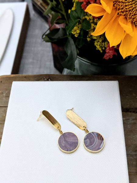 Emperador Purple Circle and Oval Post Earrings