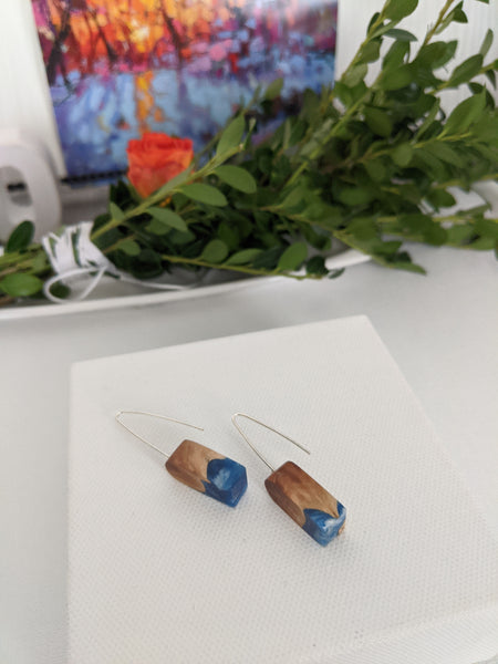 Mini Arched Blue Resin and Wood Earrings