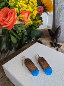 Oval Natural Dark Wood and Blue Resin Earrings
