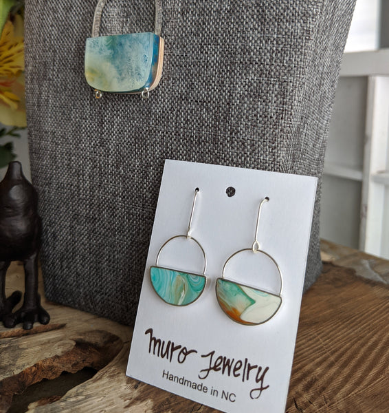 Cenote Sterling Silver Half Moon Dangle Earrings