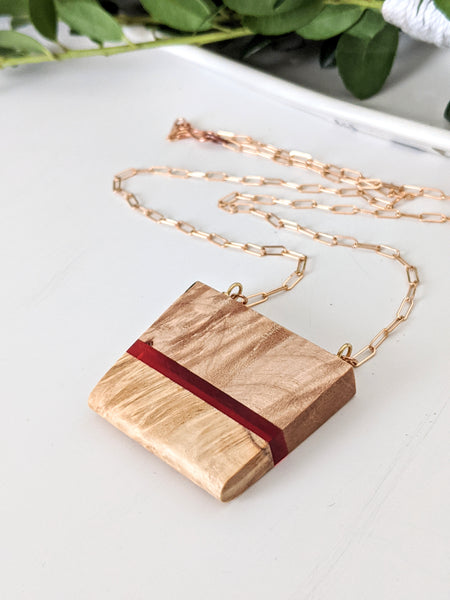Striped Wood and Fiery Red Resin Necklace