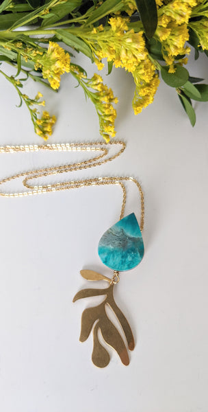Teardrop and Leaf Hand Painted Necklace