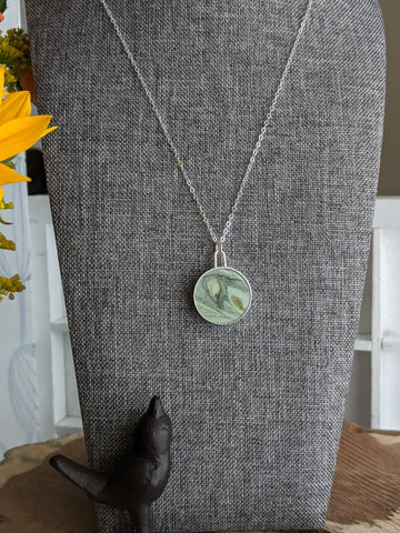 Mossy Stone Marbled Resin and Silver Necklace