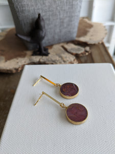 Sasso Rosso Resin and Brass Circle Dangle Earrings