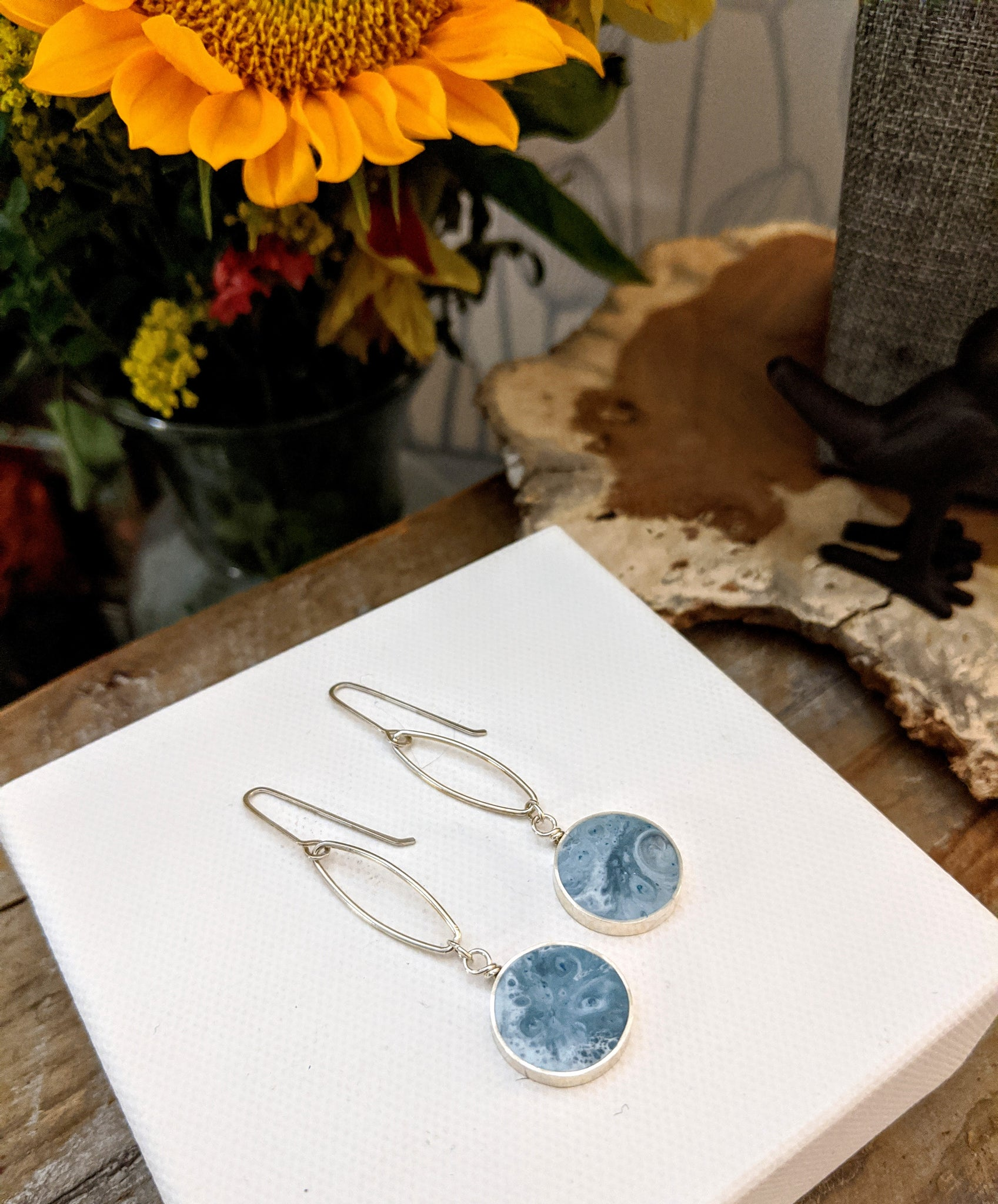 Antico Blue Circle Sterling Silver Dangle Earrings