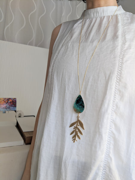 Hand Painted Wood and Resin Teardrop Leaf Pendant