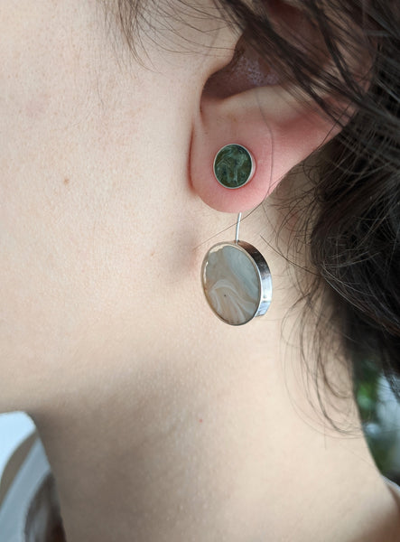 Orbital Dark Gray Post Earrings