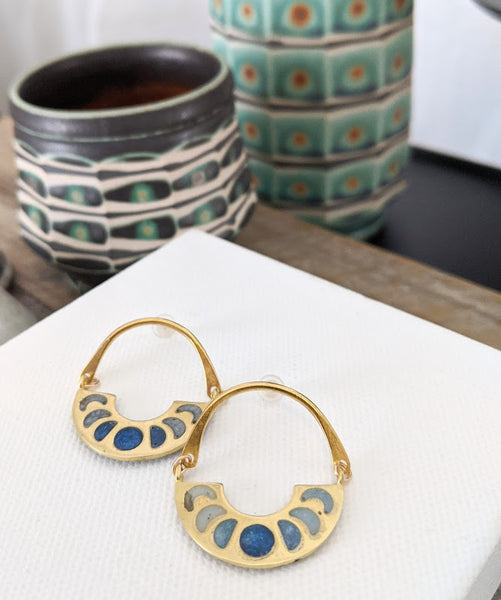 Blue Moon Phases Brass and Resin Post Earrings