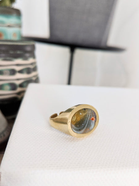 The Orange Planet Resin and Brass Ring