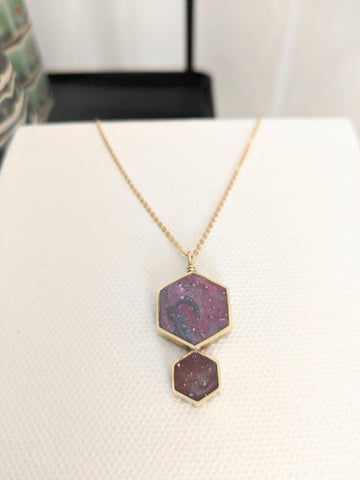 Red Galaxy Double Hexagon Pendant