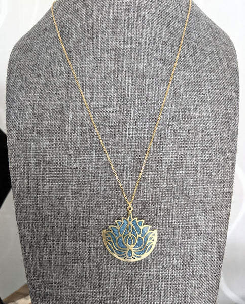 Lotus Leaves Resin and Brass Pendant