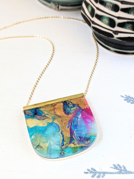 Pink and Gold Swirls Hand Painted Necklace - One of a Kind