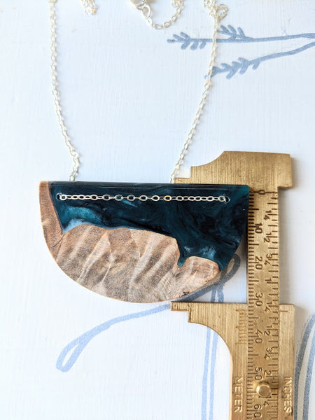 Blue Waters Resin and Wood Necklace