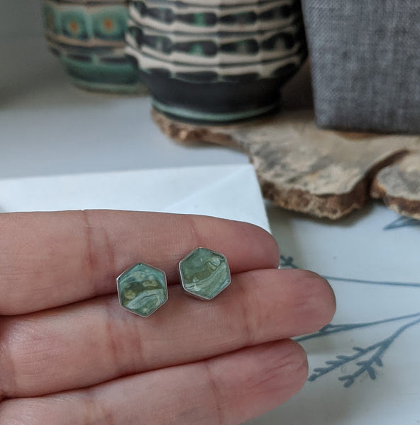Marbled Moss Resin and Sterling Silver Studs