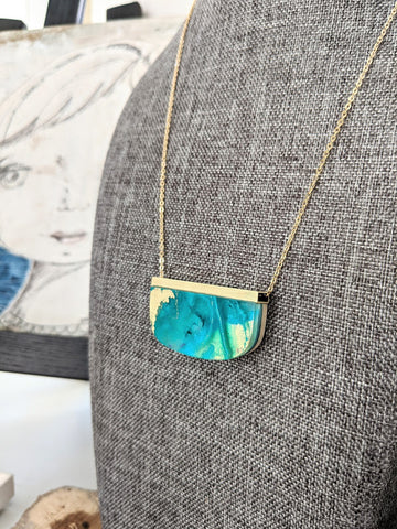 Turquoise Sea Hand Painted Wood and Resin Necklace -One of a Kind