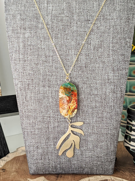 Evergreen Leaves Wood and Resin Necklace - One Of A Kind