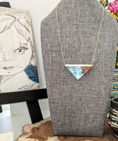 Blue Abyss Resin and Wood Triangle Necklace