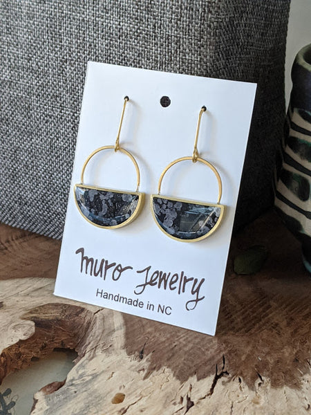Charcoal Brass Half Moon Dangle Earrings