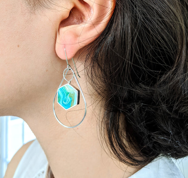 Sterling Silver Hexagon Earrings With Silver Drop