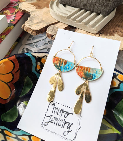 Valentina Orange-Blue Hand Painted Brass and Sealed Gouache Paint Earrings
