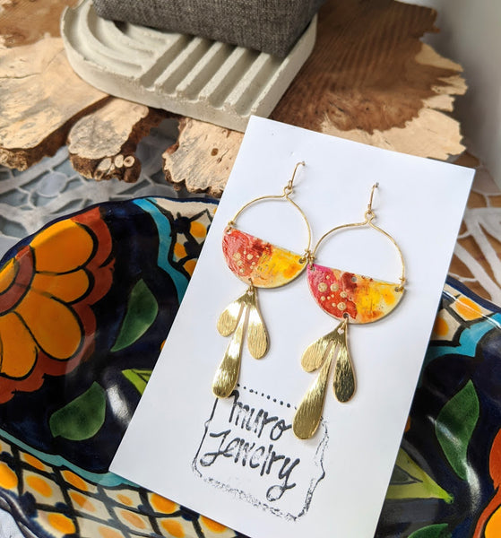 Valentina Red-Gold Hand Painted Brass and Sealed Gouache Paint Earrings