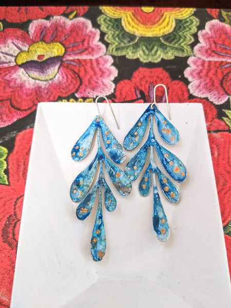 Camila Blue Tones Hand Painted Brass and Sealed Gouache Paint Earrings