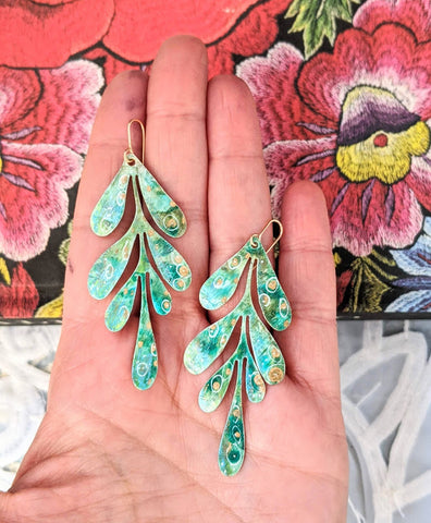 Camila Green Tones Hand Painted Brass and Sealed Gouache Paint Earrings