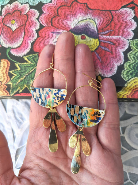 Valentina Blue-Orange Hand Painted Brass and Sealed Gouache Paint Earrings