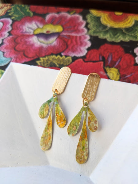 Camila Mini Yellow Leaves Hand Painted Brass and Sealed Gouache Paint Posts
