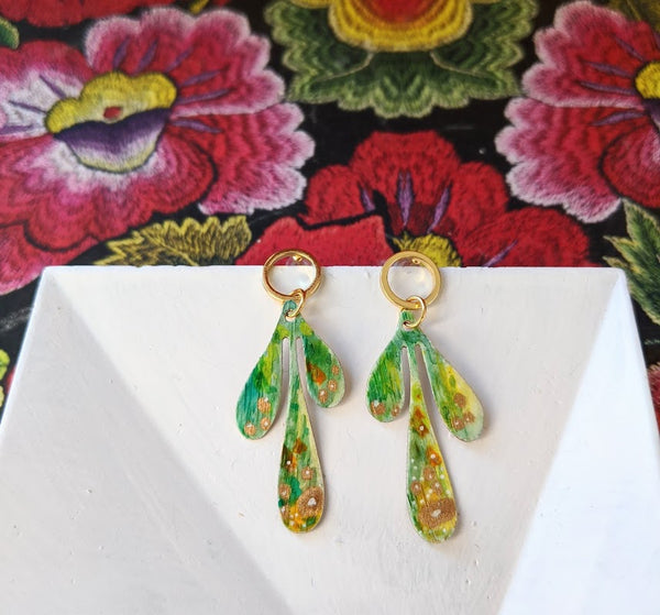 Camila Mini Green Hand Painted Brass and Sealed Gouache Paint Post Earrings