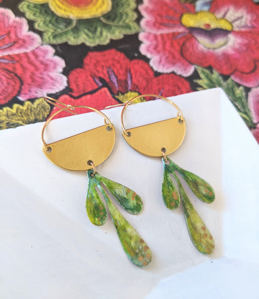 Mini Valentina Green Leaves Hand Painted Brass and Sealed Gouache Paint Earrings