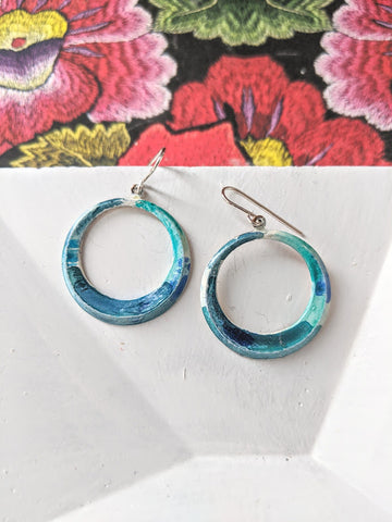 Maria Jose Bright Blue Hand Painted Brass and Sealed Gouache Paint Earrings