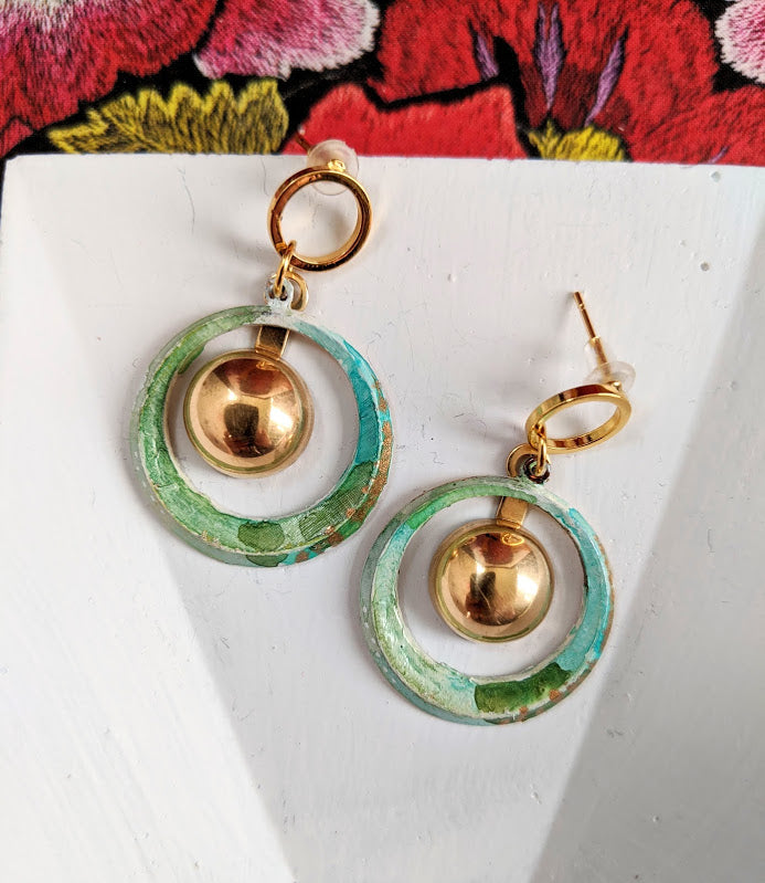 Gitana Light Green Hand Painted Brass and Sealed Gouache Paint Posts